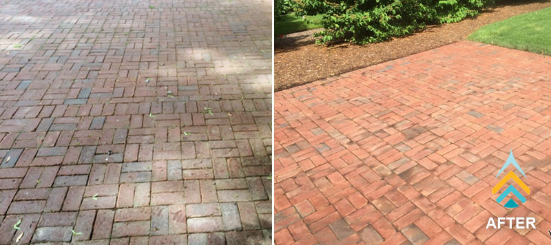 grand rapids mi brick cleaning showing clean brick pavers