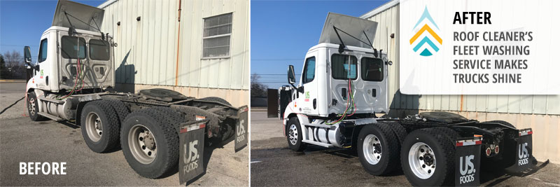 fleet washing service before and after on semi truck