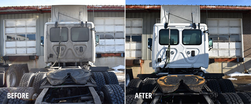 truck cab befpre and after fleet washing service from Roof Cleaner