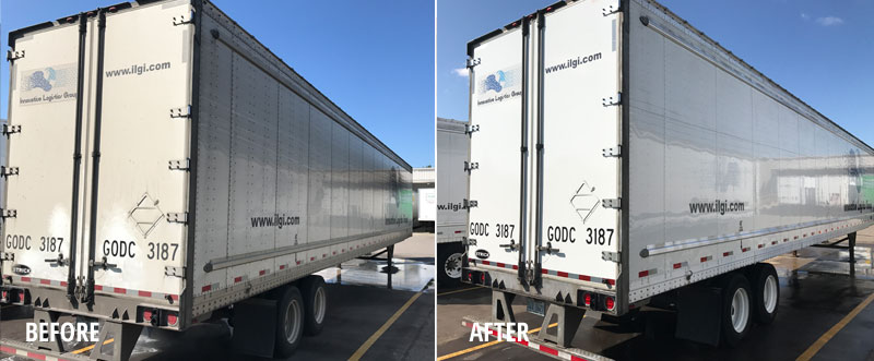 Fleet washing service on truck trailer before and after
