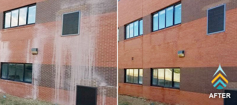 brick cleaning on side of brick building in grand rapids, mi