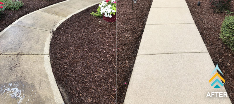 concrete cleaning brightens the surface and removes stains from driveways, sidewalks and patios